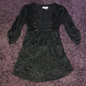 Unique black medieval style v neck top